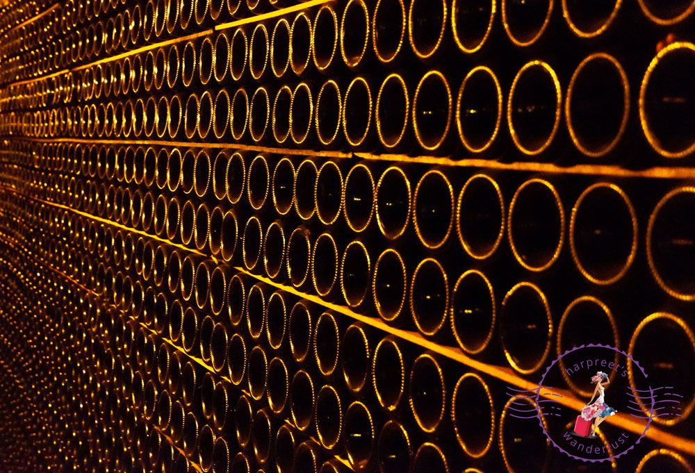 The bottles in the cellars of Moet & Chandon