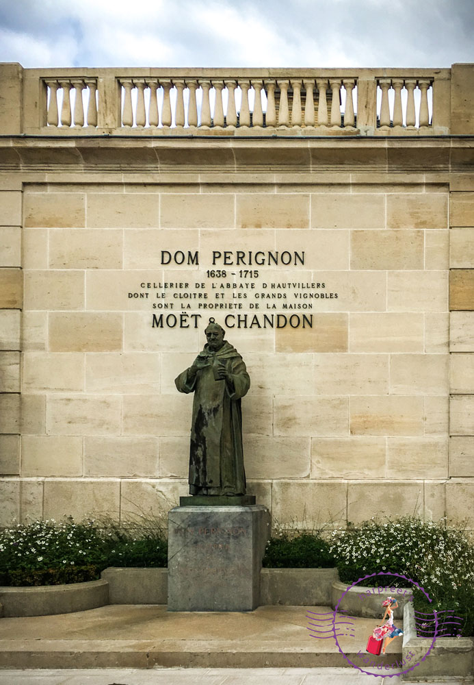 A statue of Dom Perignon in the grounds of Moet & Chandon, in Avenue de Champagne.