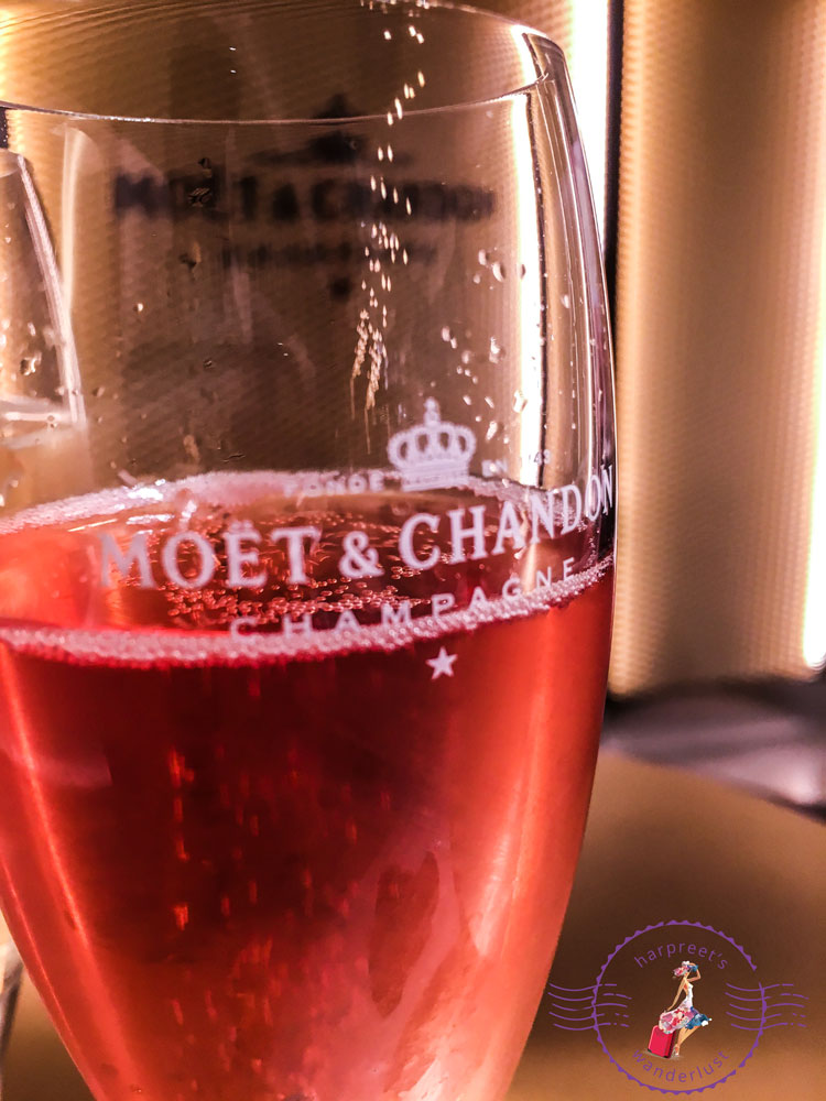 A glass of Moet Rose