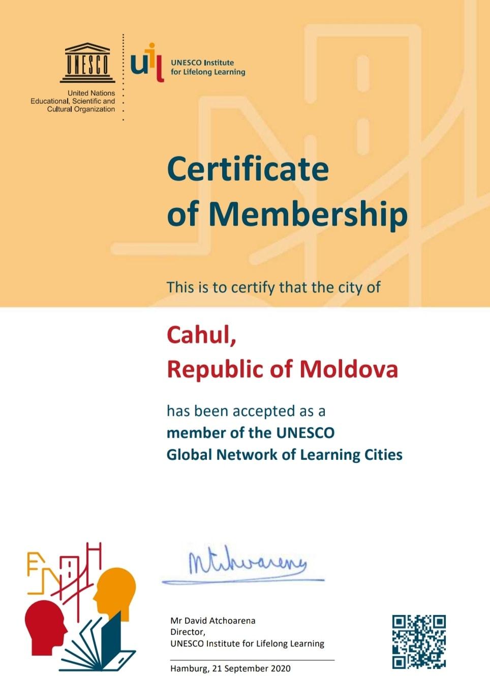 Cahulul, acceptat ca membru al UNESCO GNLC!