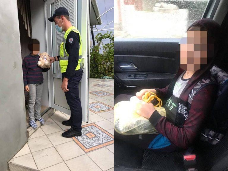 """""""Mai am de mers doi km prin ploaie"""". Un copil din Cimișlia ajutat de polițiști să ajungă acasă"""