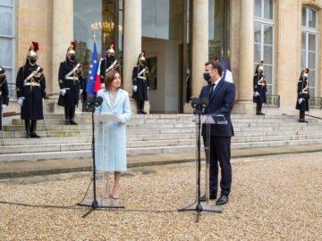 """Președintele Maia Sandu către omologul său francez, Emmanuel Macron: """"Am simțit mereu sprijinul solidar al Franței, mizăm pe el și în viitor"""""""