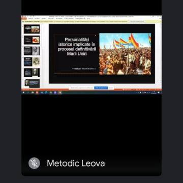 """Conferința istorică cu titlul """"Ziua Unirii Basarabiei cu România"""" desfășurată online cu participarea specialiștilor și liceenilor din Leova"""