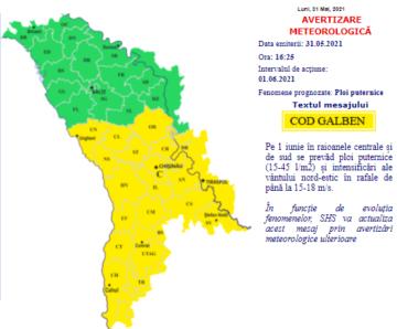 Alertă meteo: Cod Galben de furtună pe 1 iunie în regiunile din Centrul și Sudul țării