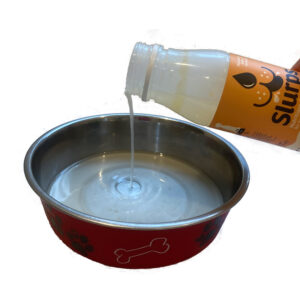 Pour in the food bowl between meals - don't add to water