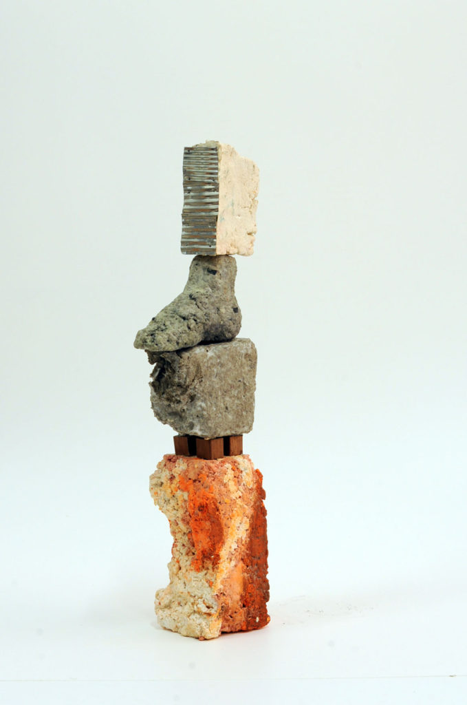 Aide-Memorie #3  Paper pulp, building remnants and found materials 39x11x7cm