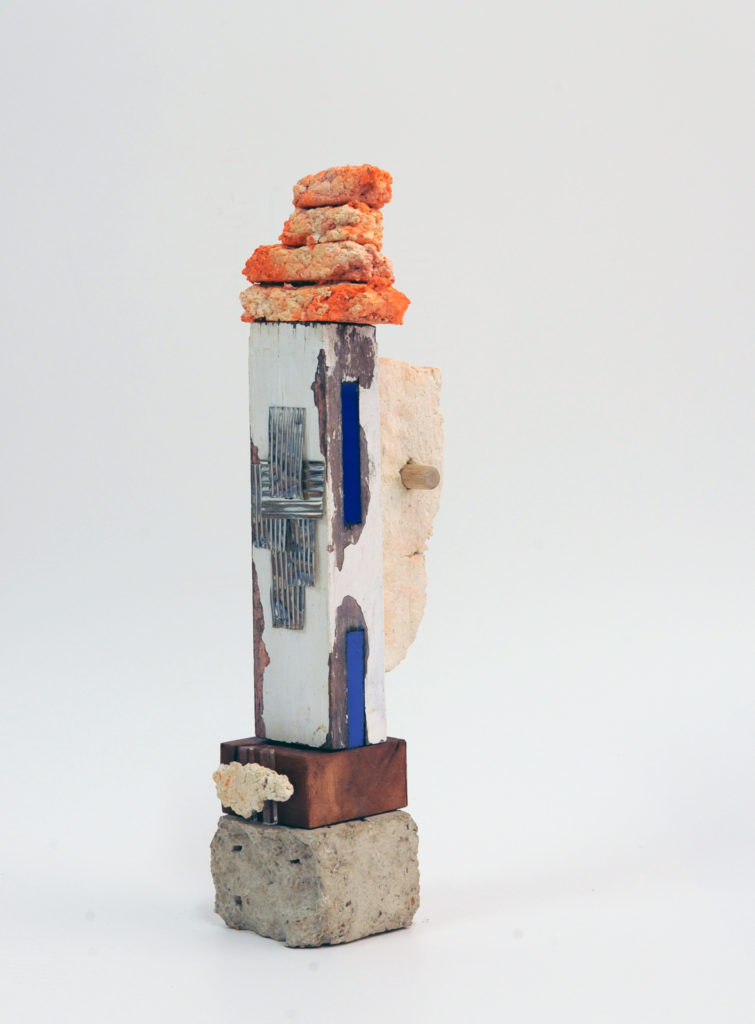 Aide Memorie #4 Recycled paper pulp, building, acrylic and tin remnants 41x11x11cm