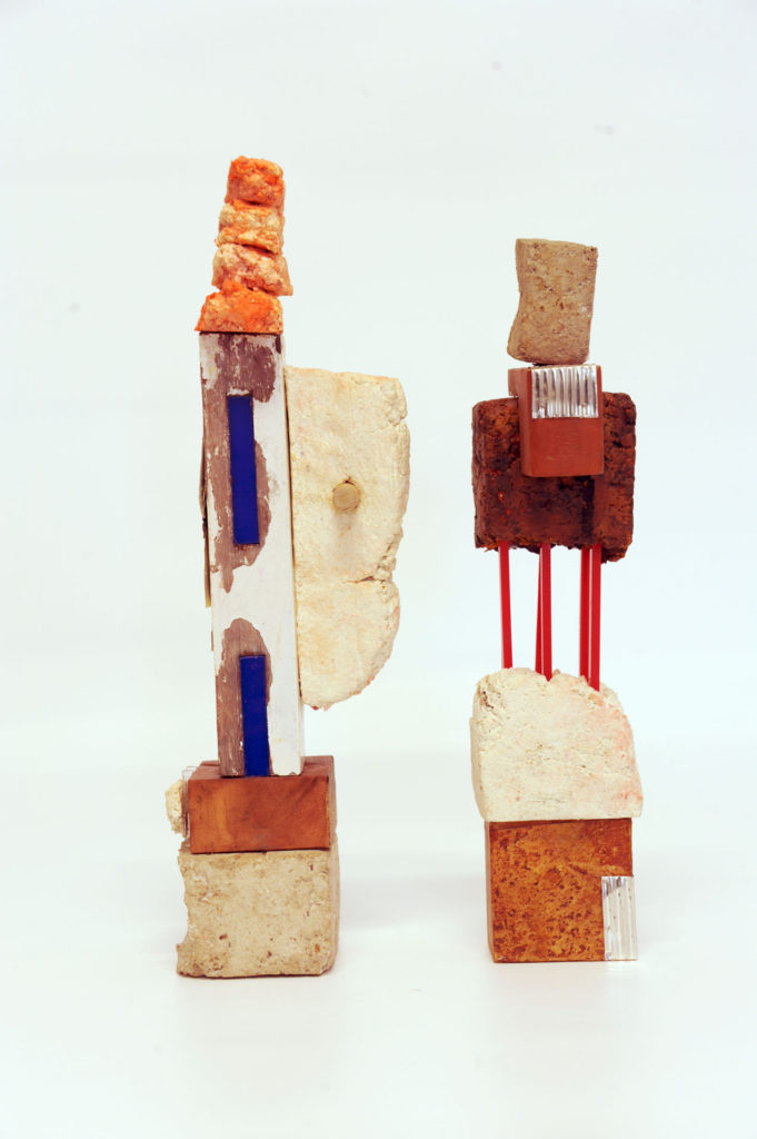 Aide Memorie #4 (left) #2 (right) Paper pulp, acrylic and timber remnants #2 37x11x7  #4 41x11x11