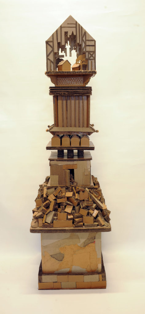 """""""Monument to Shelter #5"""" Hand cut recycled cartons 225x50x50 cm"""