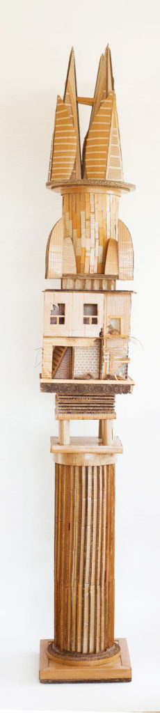 """""""Monument to Shelter #3"""" Hand cut recycled cardboard carton 222x33x33 cm"""