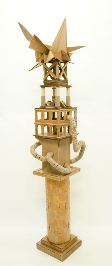 """""""Monument to Shelter #4"""" Hand cut recycled cardboard carton 250x50x50 cm"""