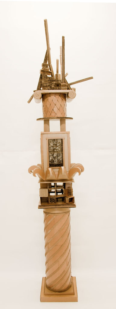 """""""Monument to Shelter#6"""" Hand cut recycled cardboard carton 225x50x50"""