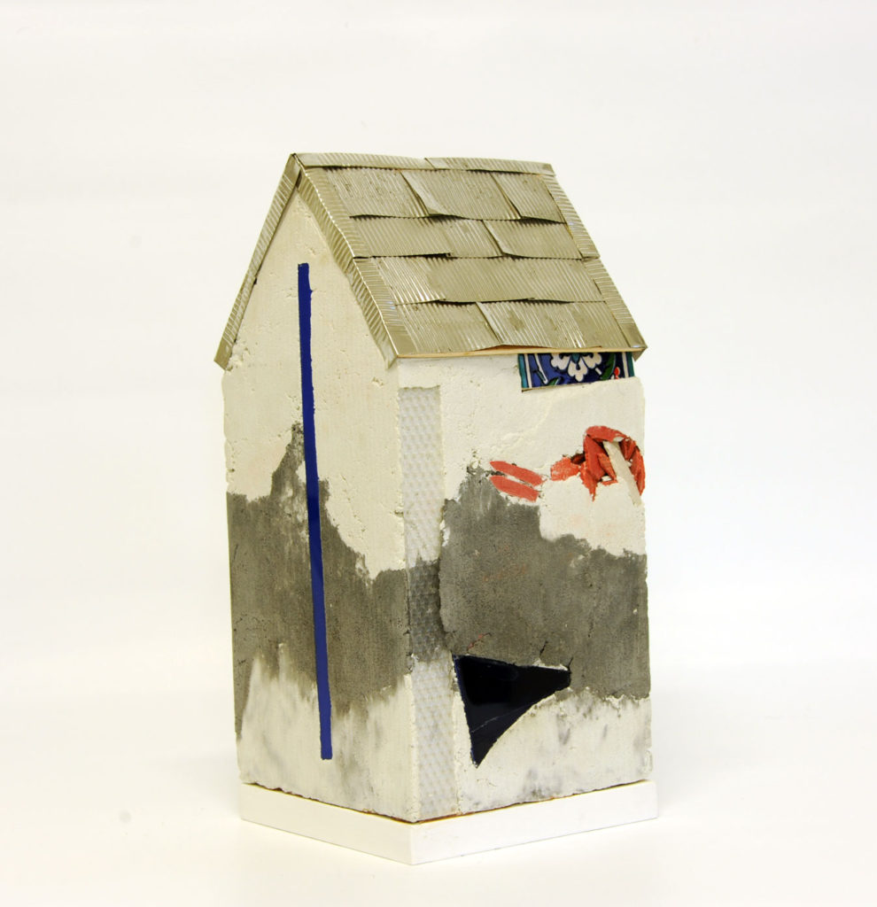 """""""Mnemonic House #1"""" view 2 Reconstructed building remnants and found objects and photograph cast in concrete form 41x20x20cm"""