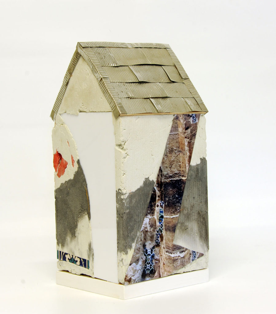 """""""Mnemonic House #1"""" Reconstructed building remnants and found objects and photograph cast in concrete form 41x20x20cm"""