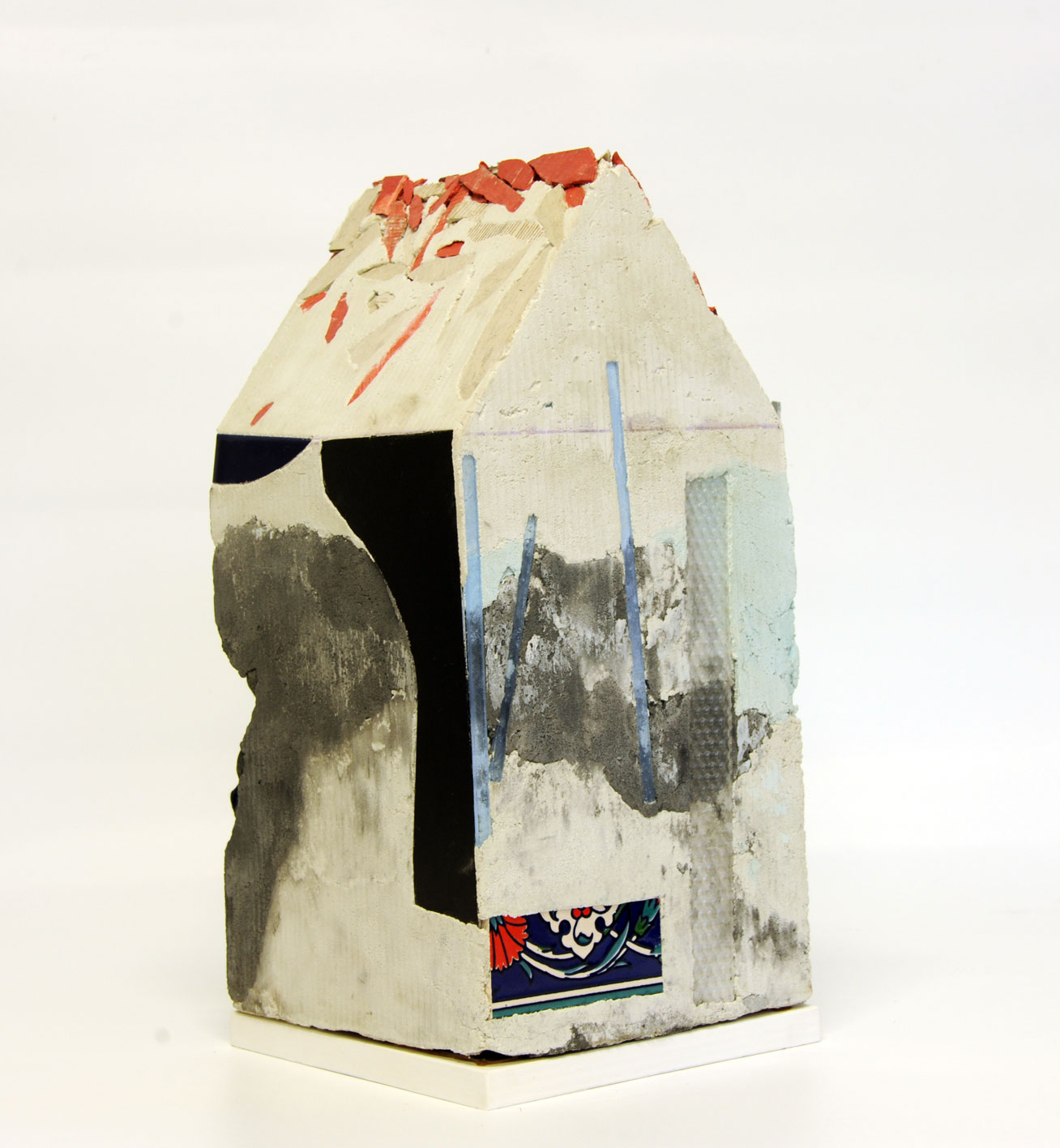 """""""Mnemonic House #2"""" view 3 Reconstructed building remnants and found objects cast in concrete form 45x22x22cm"""