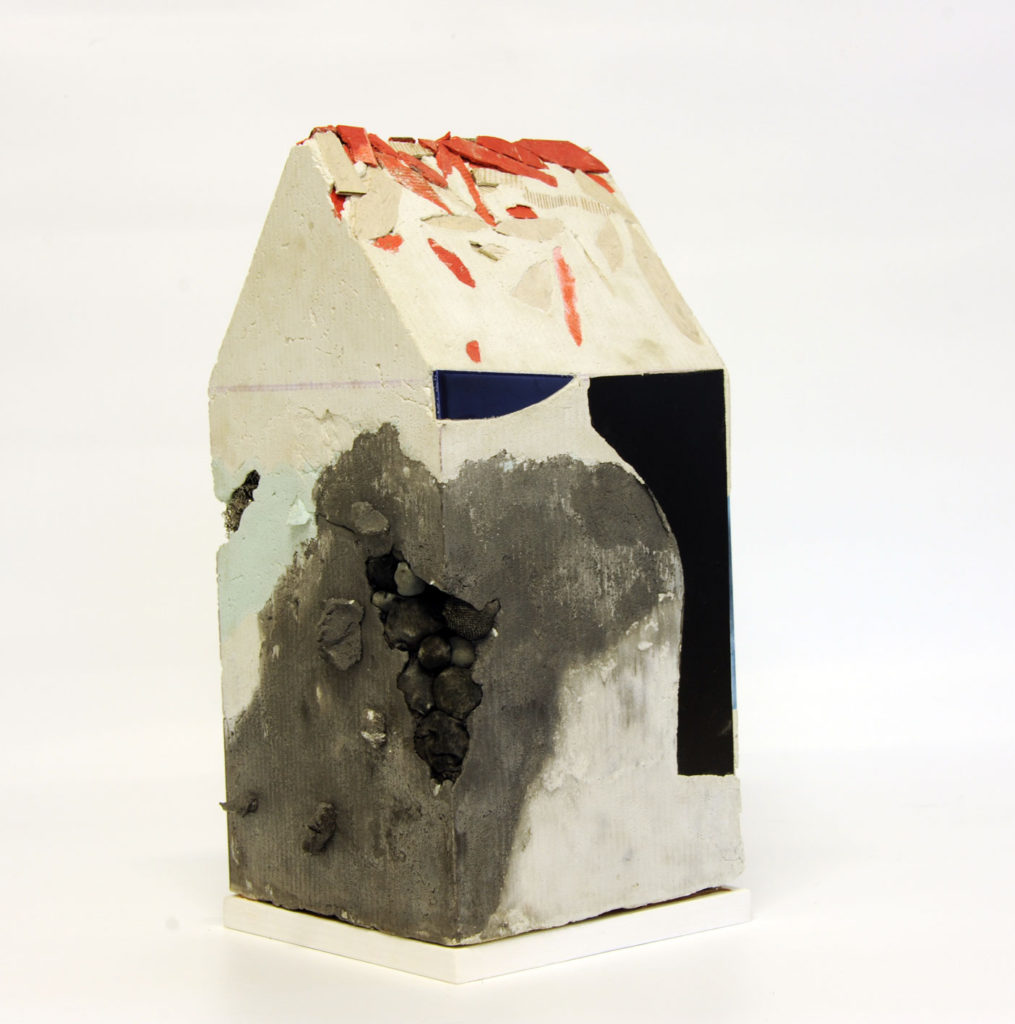"""""""Mnemonic House #2"""" view 2 Reconstructed building remnants and found objects cast in concrete form 45x22x22cm"""