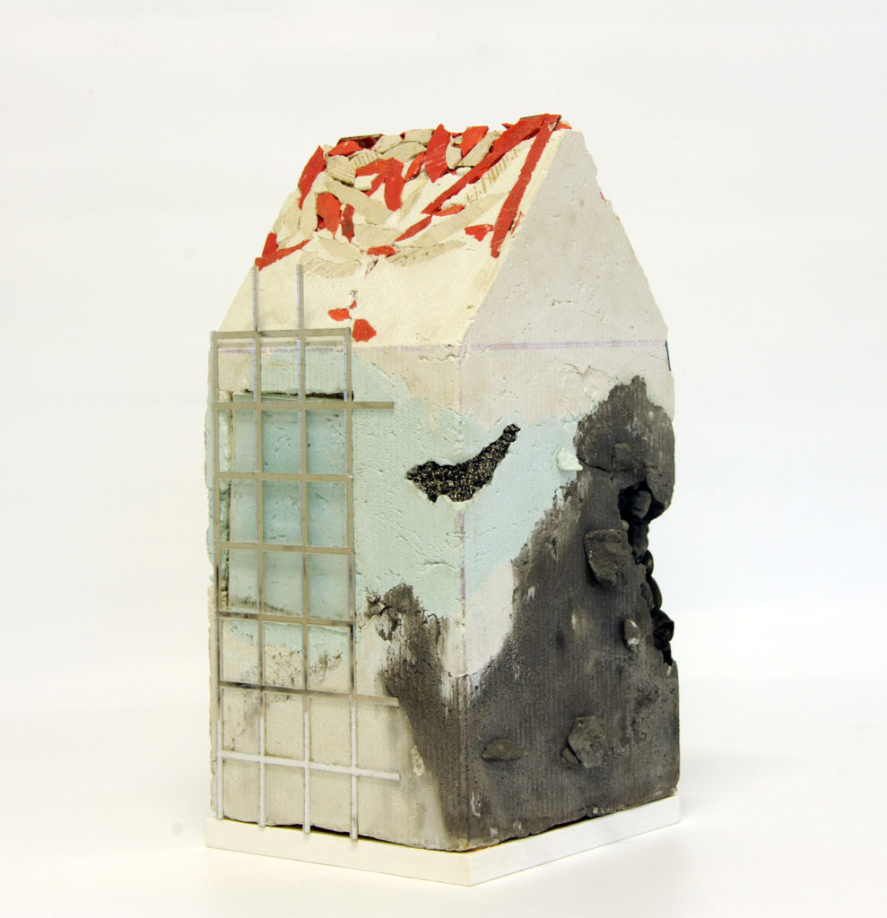 """""""Mnemonic House #2"""" view 1 Reconstructed building remnants and found objects cast in concrete form 45x22x22cm"""