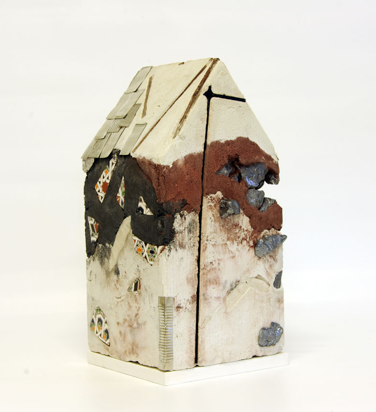 """""""Mnemonic House #4"""" Reconstructed building remnants and found objects cast in concrete form 44x32x32cm"""