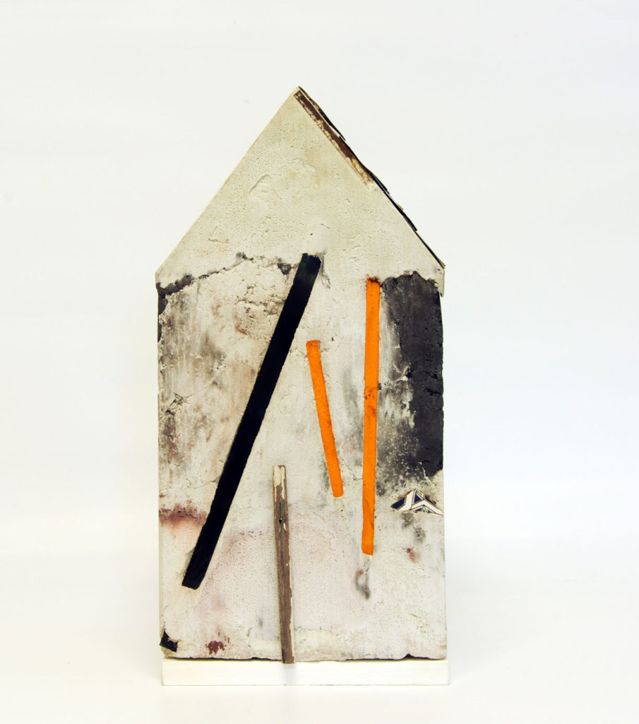 """""""Mnemonic House #4"""" view 3 Reconstructed building remnants and found objects cast in concrete form 44x32x32cm"""