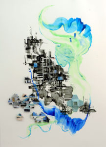 """""""Place in space - River Frontage"""" Ink and recycled magazine origami and acrylic on Yupo 65.2x91.3cm  Sold"""