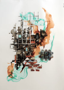 """""""Place n Space - Aqua Trends"""" Ink and recycled magazine origami and acrylic on Yupo 65.2x91.3cm Sold"""