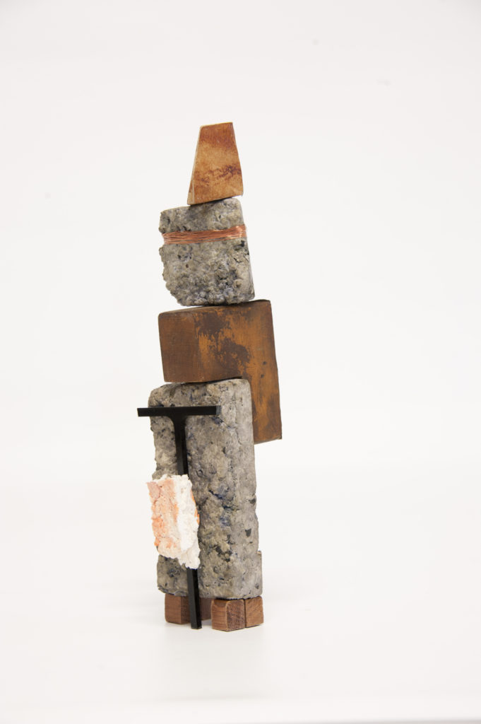 Aide Memories paper pulp, acrylic, tin, copper wire, remnant timber 32x4x7 cm