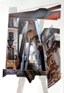 """Photo and mixed media collage with quotes from """"The Architecture of Happiness' by Allain DeBotton"""