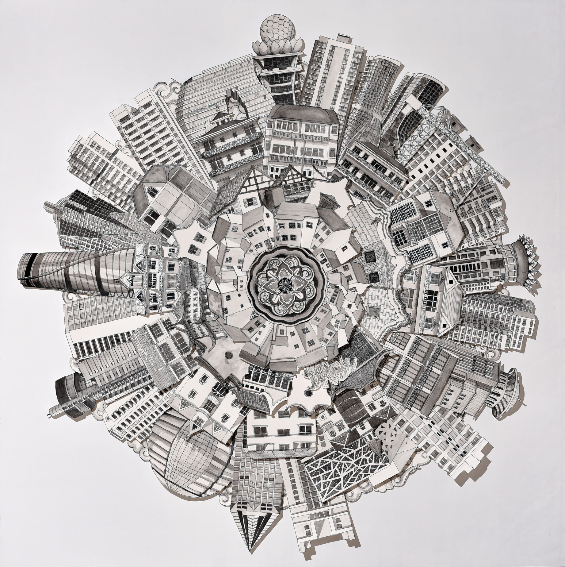 Circular City Ink on paper construction $1520.00 1200x1220