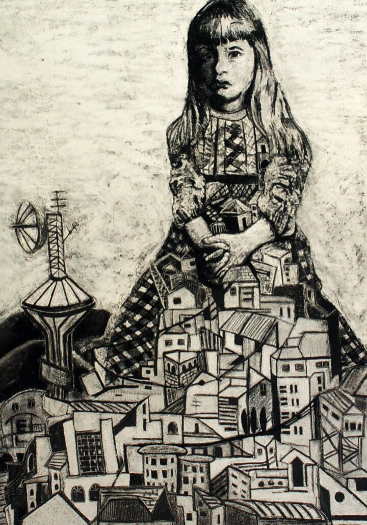 Alice House - Carved charcoal on paper 150x102cm (unframed)