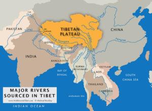 Major Rivers from Tibet - Yangzte, Yellow, Mekong, Salween, Indus and Brahmaputra