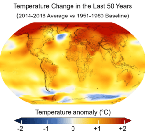 change in global temperature