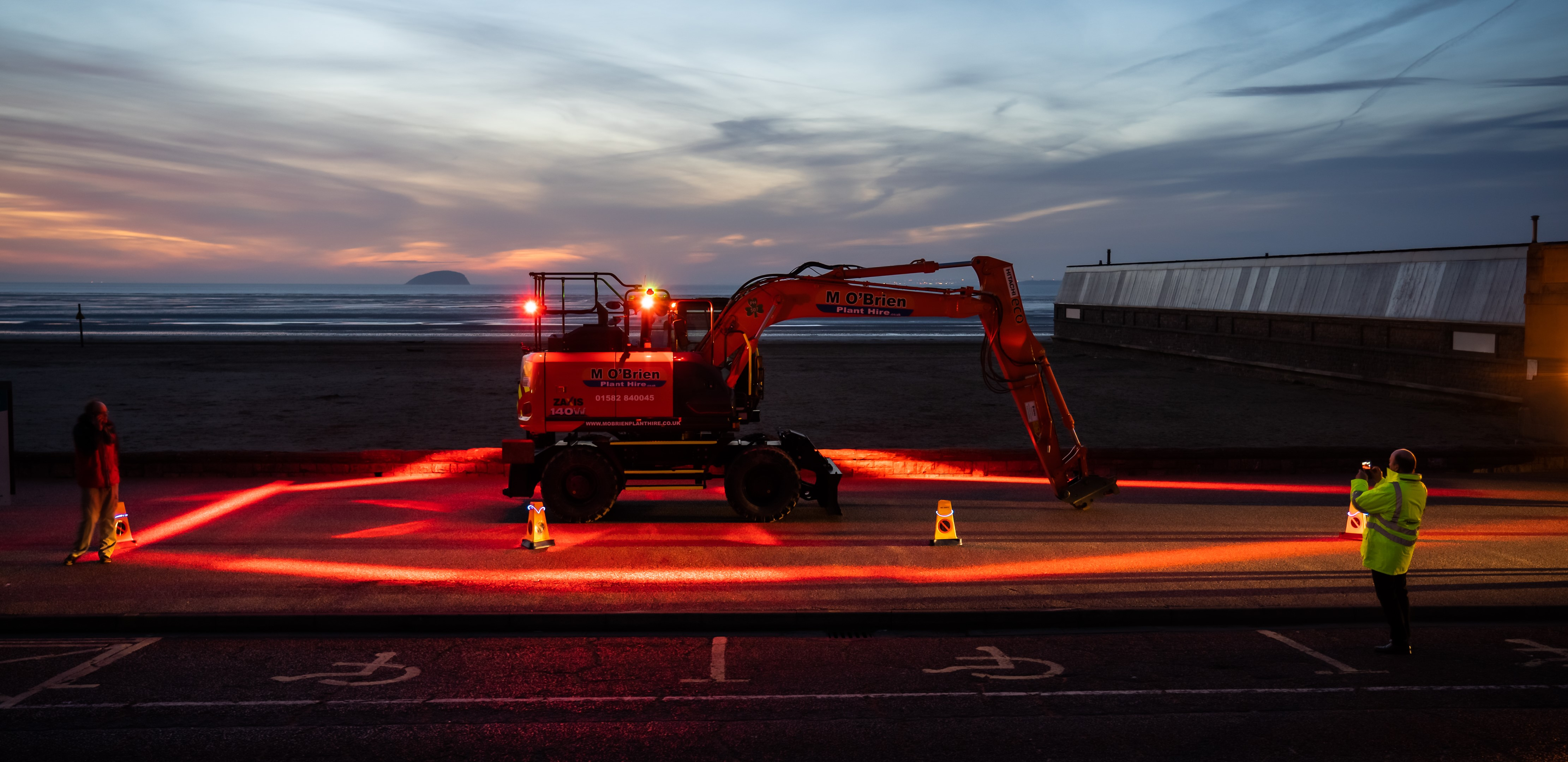 ZX140W wheeled excavator fitted with Halo exclusion zone safety