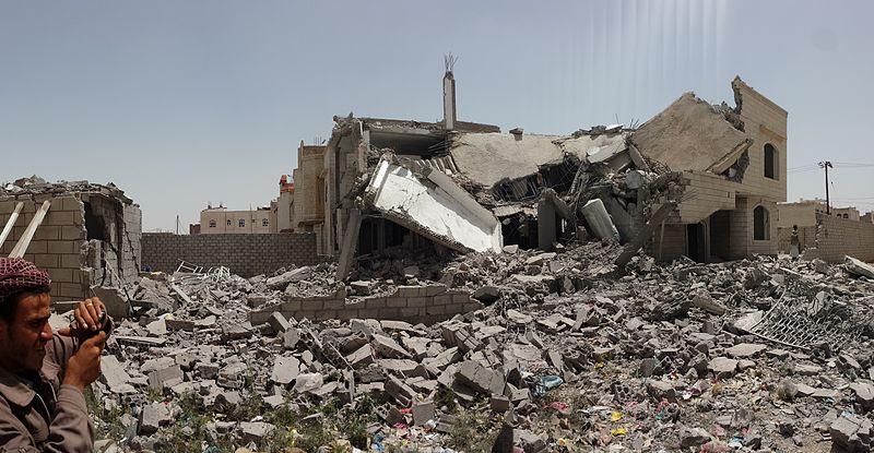 """""""Destroyed house in Sanaa,Yemen."""" (Source: Ibrahem Qasim / Wikicommons)"""