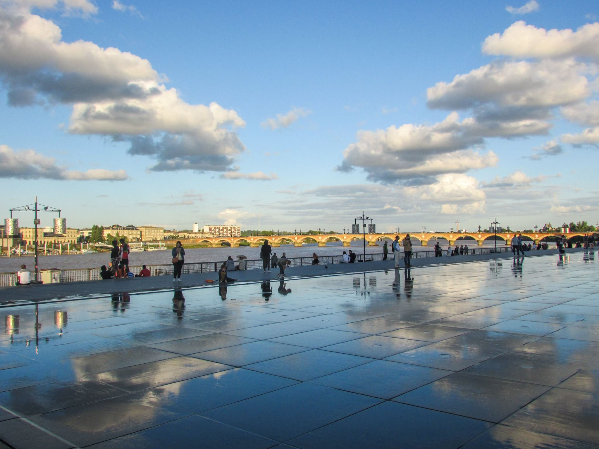 Sunset over the Water Mirror in Bordeaux, France