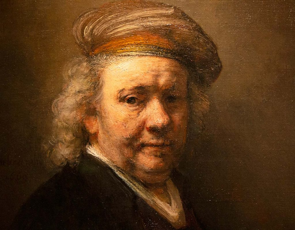 Detail of a Rembrandt self-portrait from 1669 and displayed at the Mauritshuis in The Hague.
