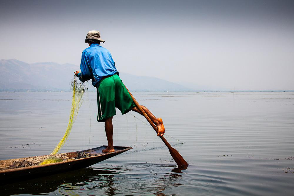 Fisherman on Inle Lake, Myanmar, by Bella Falk.