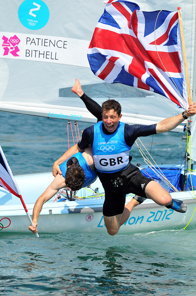 Finnbarr Webster photographed uke Patience and Stuart Bithell celebrating after winning the Men's 470 in the 2012 Olympic Games