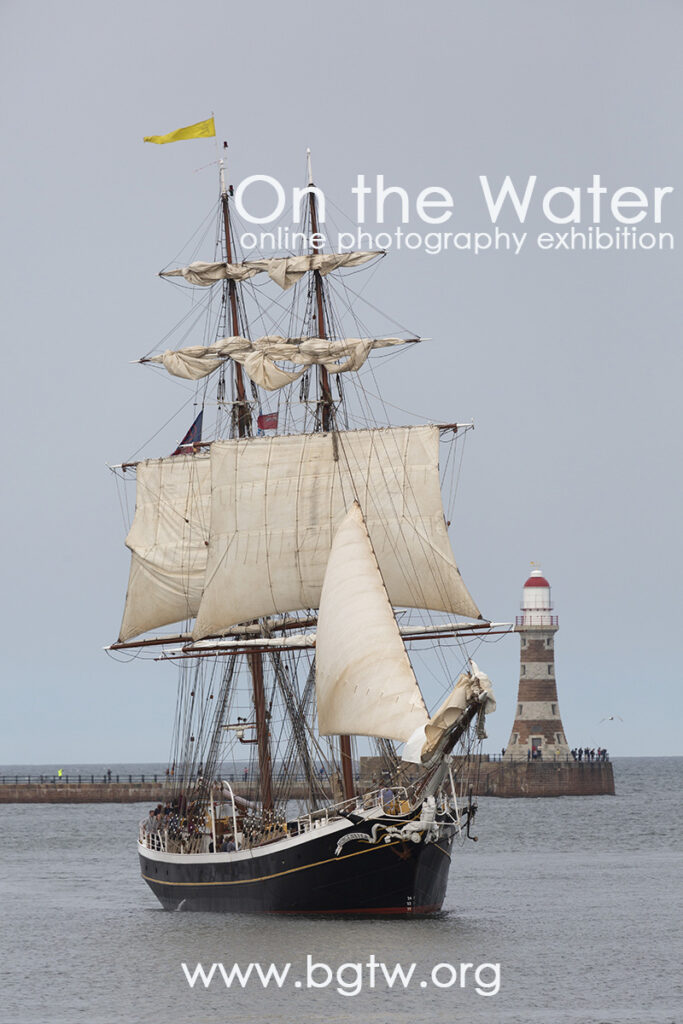 Pinterest pin for the On the Water online photography exhibition featuring images by members of the British Guild of Travel Writers. This image is from the 2018 Tall Ships Race which started in Sunderland, England.