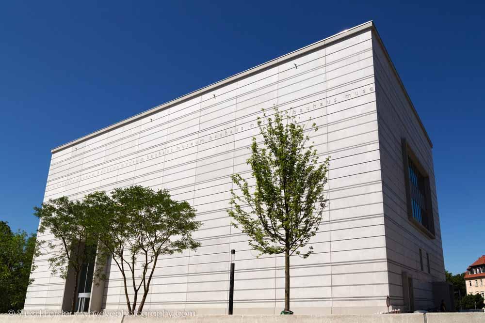 Facade of the Bauhaus Museum Weimar, designed by Heike Hanada, in Weimar, Germany