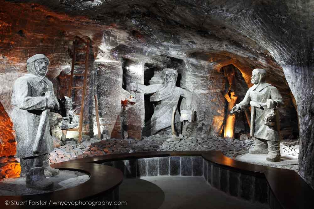 Sculptures by Mieczyslaw Kluzek and Antoni Cholewa in Wieliczka Salt Mine near Kraków, Poland