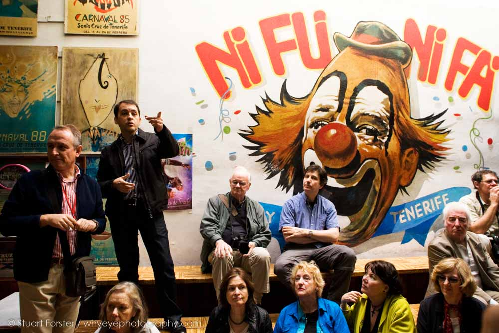 Members of the British Guild of Travel Writers with a guide at the Ni Fi Ni Fa carnival club headquarters in Santa Cruz de Tenerife