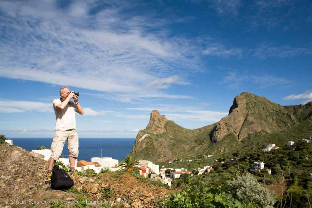 A member of the British Guild of Travel Writers photographs a landscape in Tenerife during the 2010 AGM