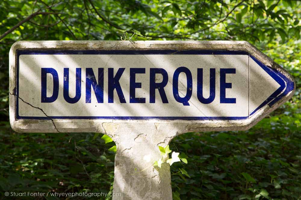 Sign for Dunkerque (Dunkirk) in northern France