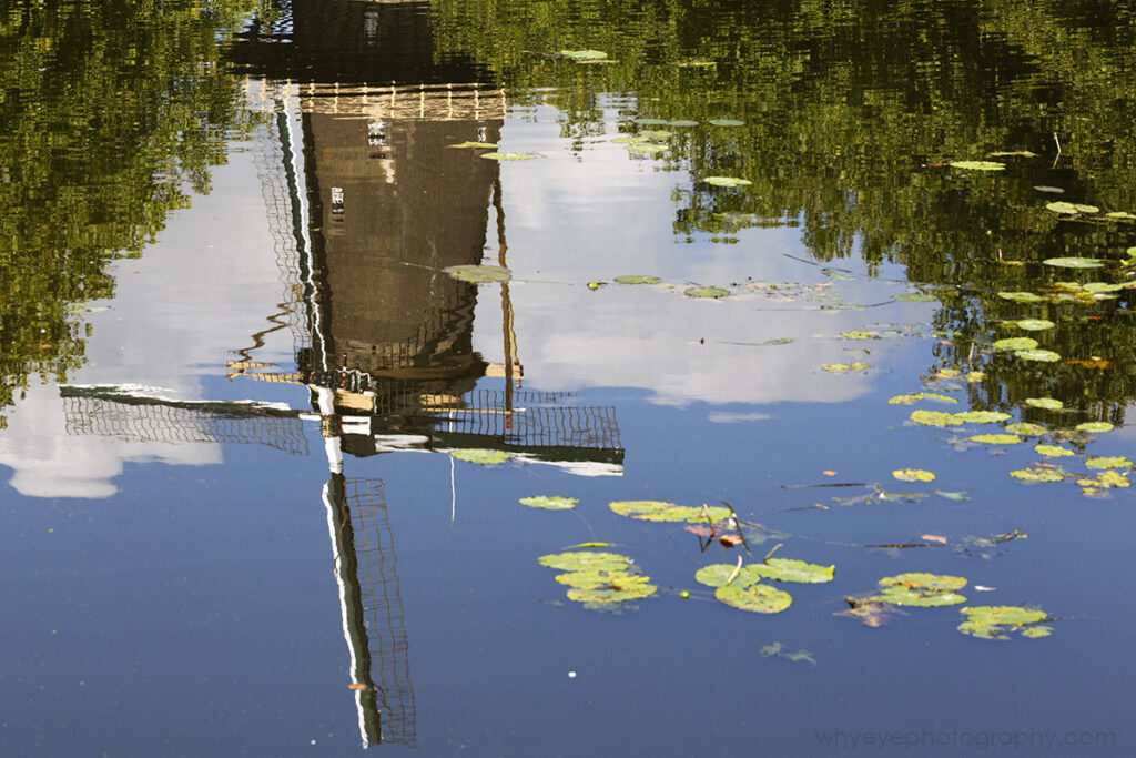 A windmill (De Walvisch) reflects in the water of a canal in Schiedam, the Netherlands.