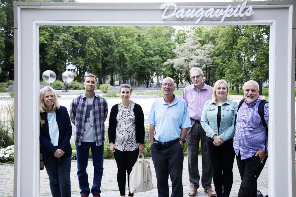 Members of the British Guild of Travel Writers in Daugavpils with Arturs Adamsons and Ilona Maksimcika.