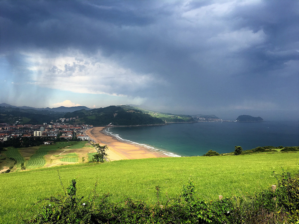 Talaimendi headland in Zarautz, overlooking the longest beach in the Spanish Basque country