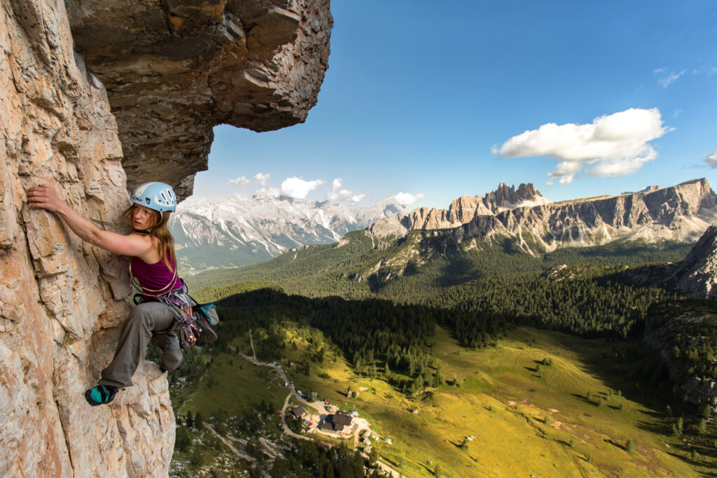 Climbing La Spada nella Roccia (The Sword in the Stone) in Sottoguda, northern Italy.