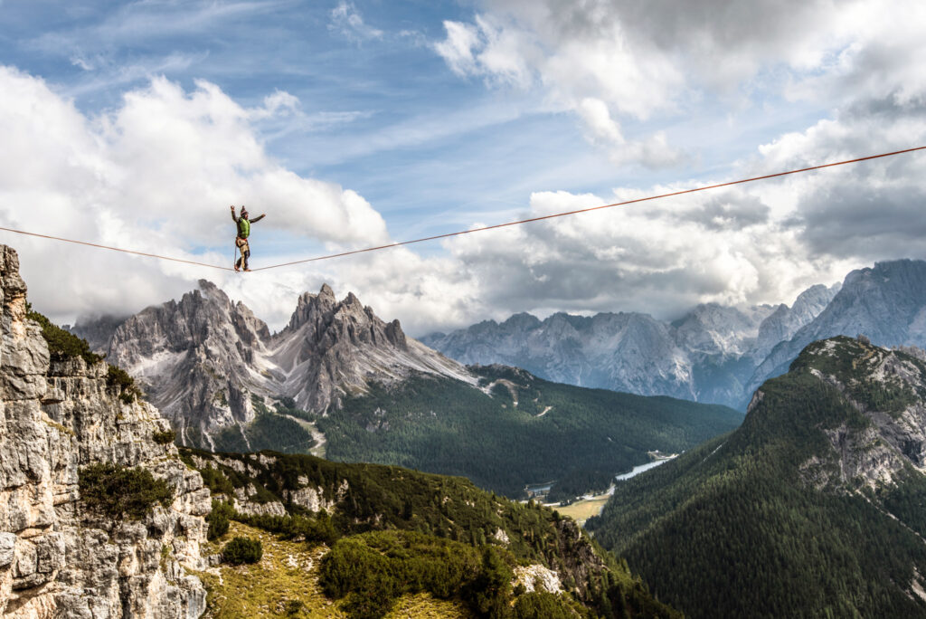 Highlining at Monte Piana, with views of the Cadini di Misurina, Italy