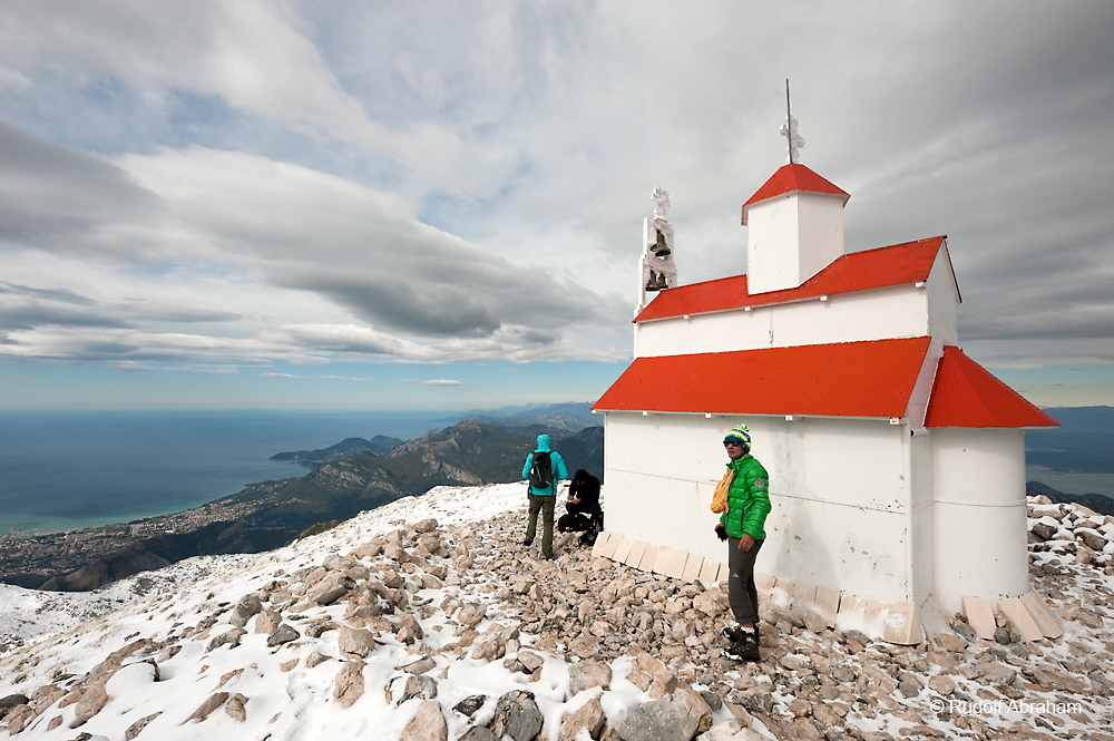 On the summit of Rumija, a mountain in Montenegro between the port city of Bar and Lake Skadar, after October snowfall by Rudolf Abraham. Included in the British Guild of Travel Writers Online Photography Exhibition themed Adventure.