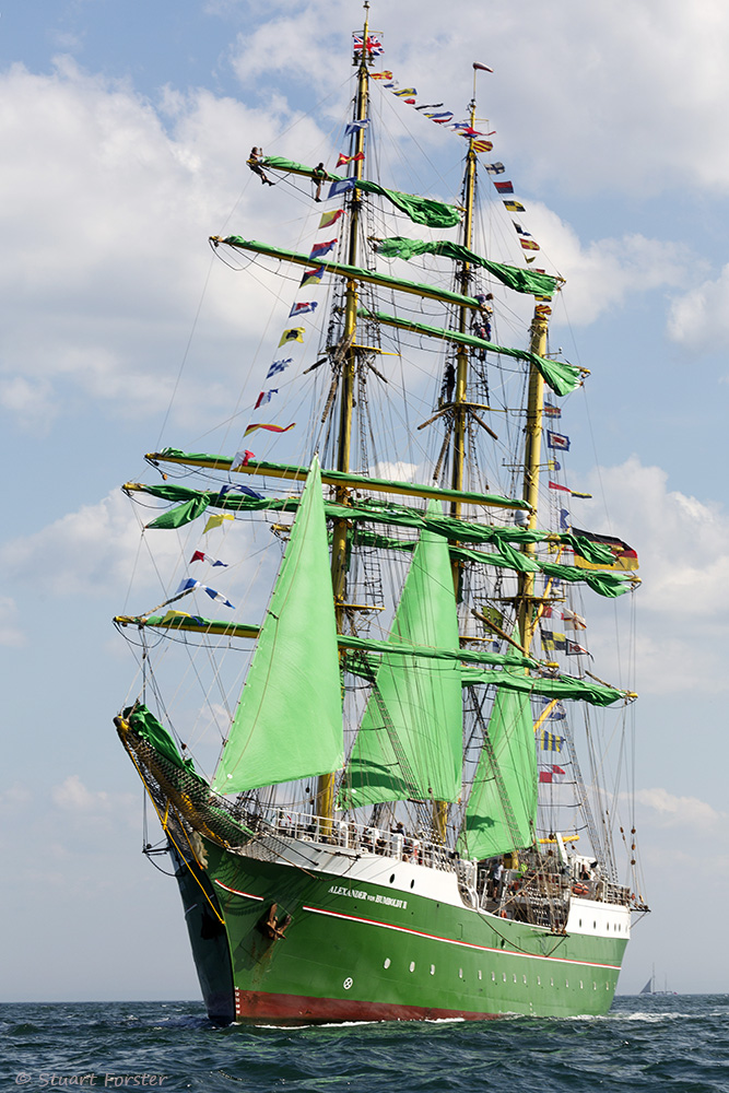 Alexander Humboldt II, a German ship, on the North Sea off Sunderland in north-east England at the start of the 2018 Tall Ships Race. Part of the British Guild of Travel Writers Online Photography Exhibition themed Adventure.